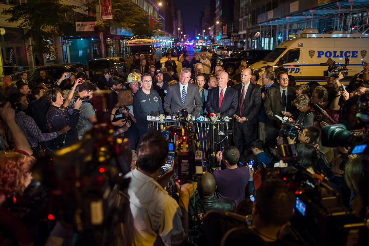 Soon after the news of the explosions, the Governor of New York, The Mayor of New York, and the Chief of Police gave a press conference regarding the uncertain nature of the explosions.