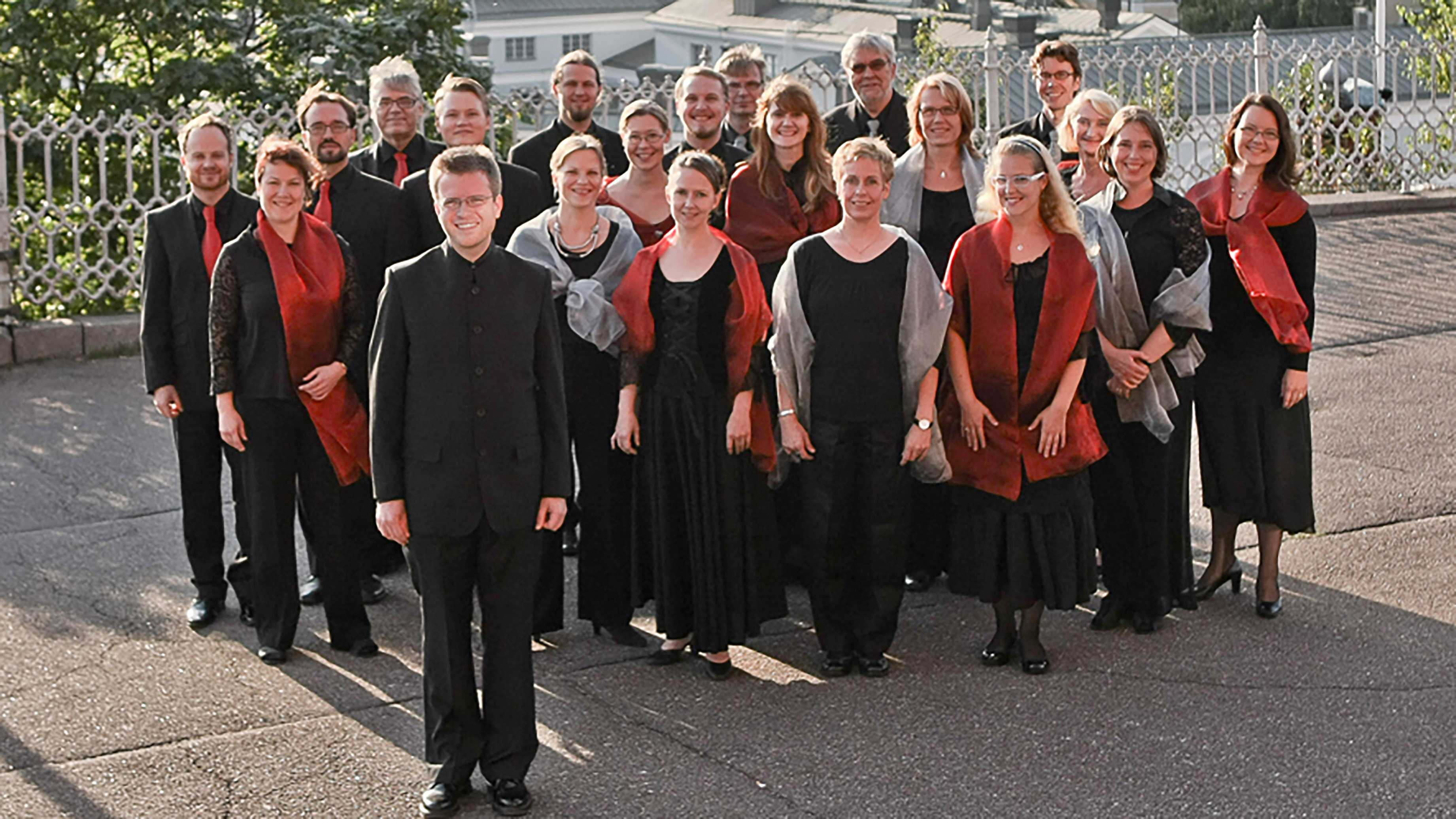The Helsinki Chamber Choir poses together. - Photo courtesy of Associated Press