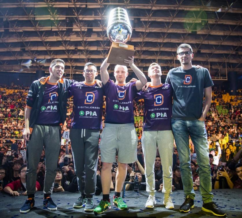 Team Digital Chaos with the ESL One Genting trophy (from left to right: w33, Moon, Misery, Resolut1on and Saksa) -   Image courtesy of ESL Dota 2