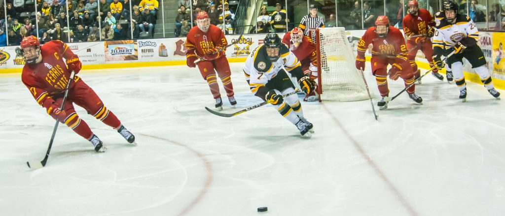 The Huskies beat the Ferris State Bulldogs 5-2 on Saturday, scoring two goals in the first period, one in the second and two more in the third. - Photo by Horatio Babcock