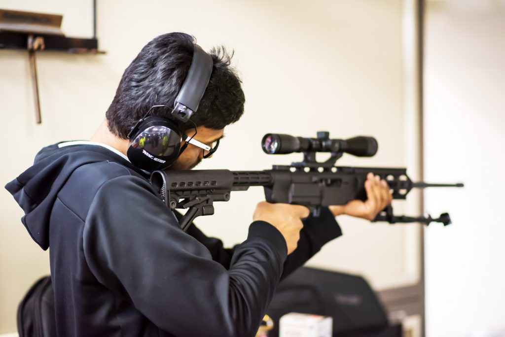 A member of the Pistol Club focuses on perfecting his skill. - Photo by Kiran Udayakumar