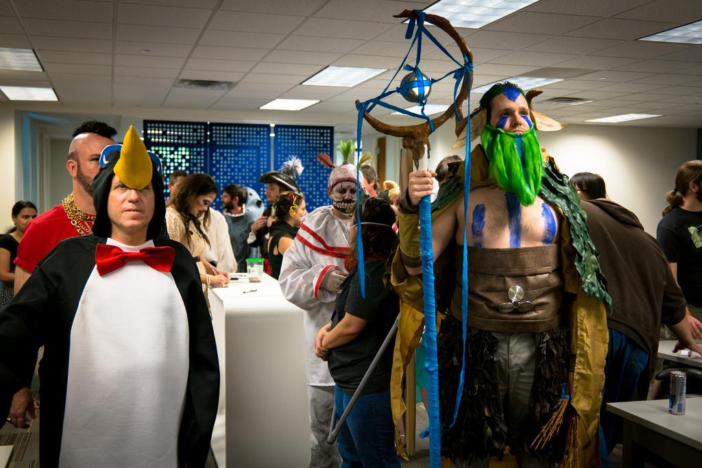 Cosplayers dressed as Dota 2 characters Penguin (left) and Nature's Prophet (right).						     			             Image courtesy of Nan Palmero