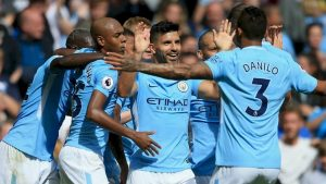 Manchester City celebrate after Sergio Aguero's goal.											             Image courtesy of Manchester City