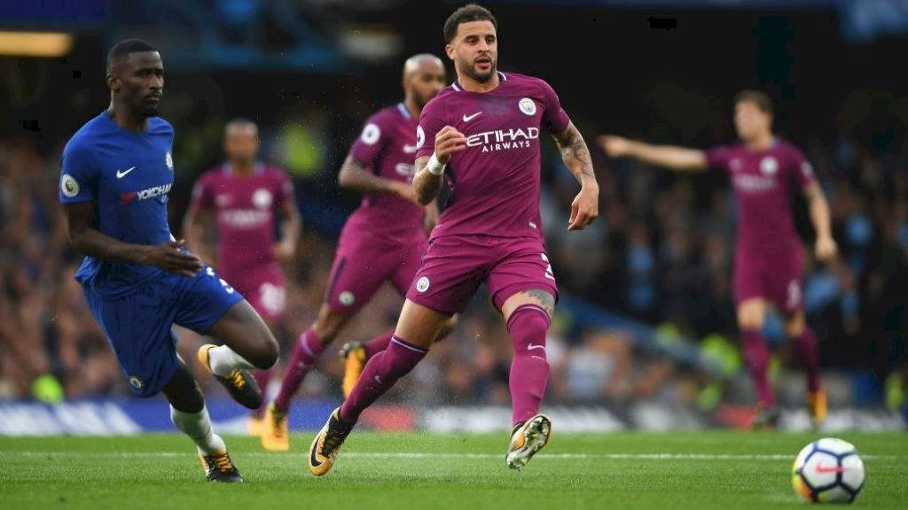 Manchester City defender Paul Walker passes the ball in their game against Chelsea.			        Image courtesy of Manchester City