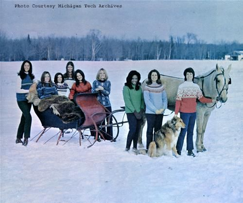 Winter Carnival has crowned its queen since 1928, pictured here is the Queen Court from 1971.