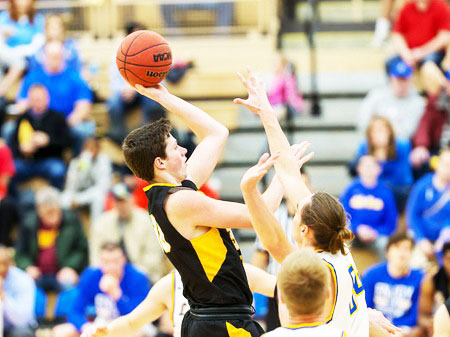 Kyle Monroe shoots the ball against Lake Superior State Saturday.