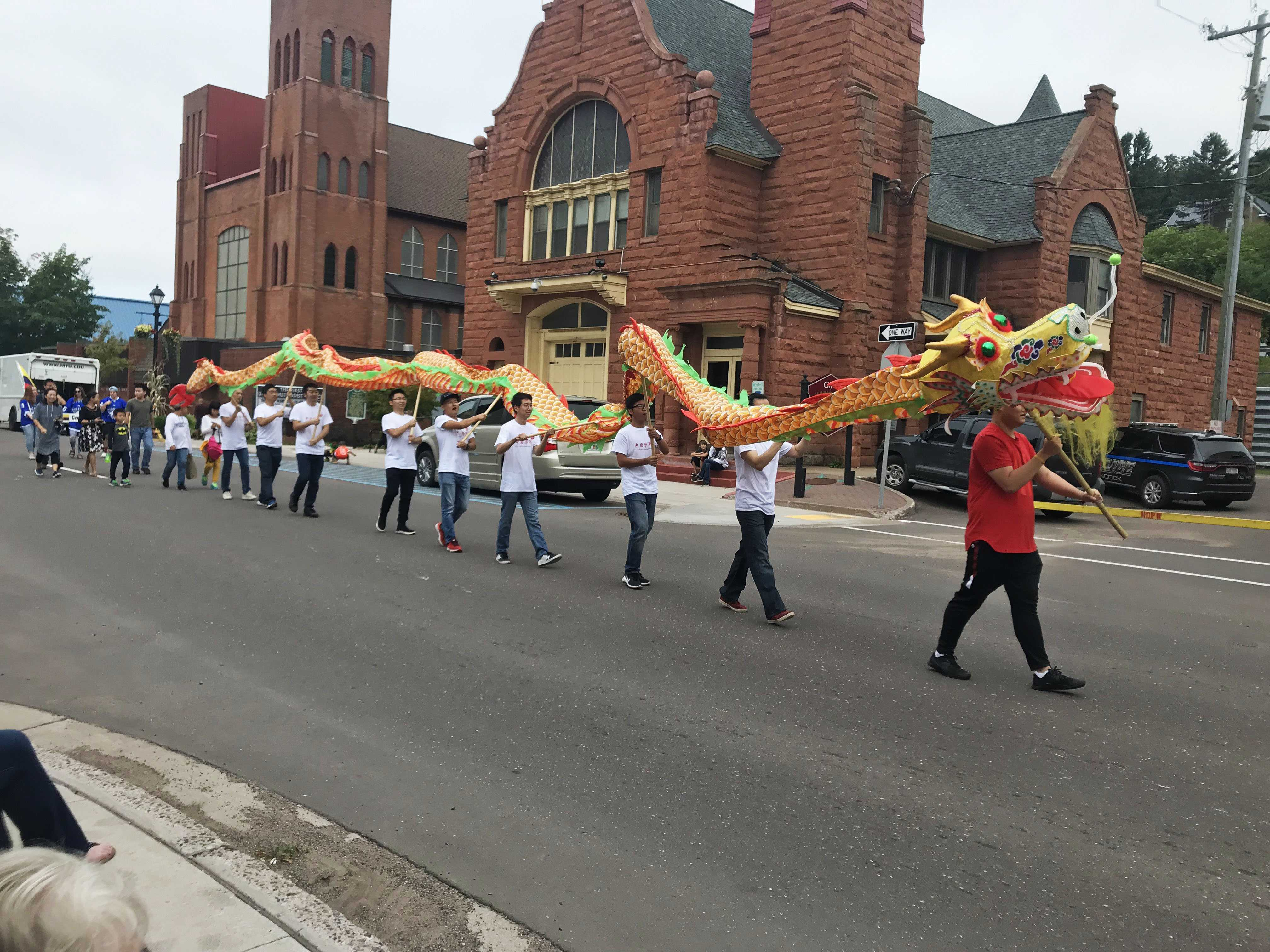 The Chinese community here in Houghton had not only a float but followed up with a gorgeous, swaying Chinese dragon.
