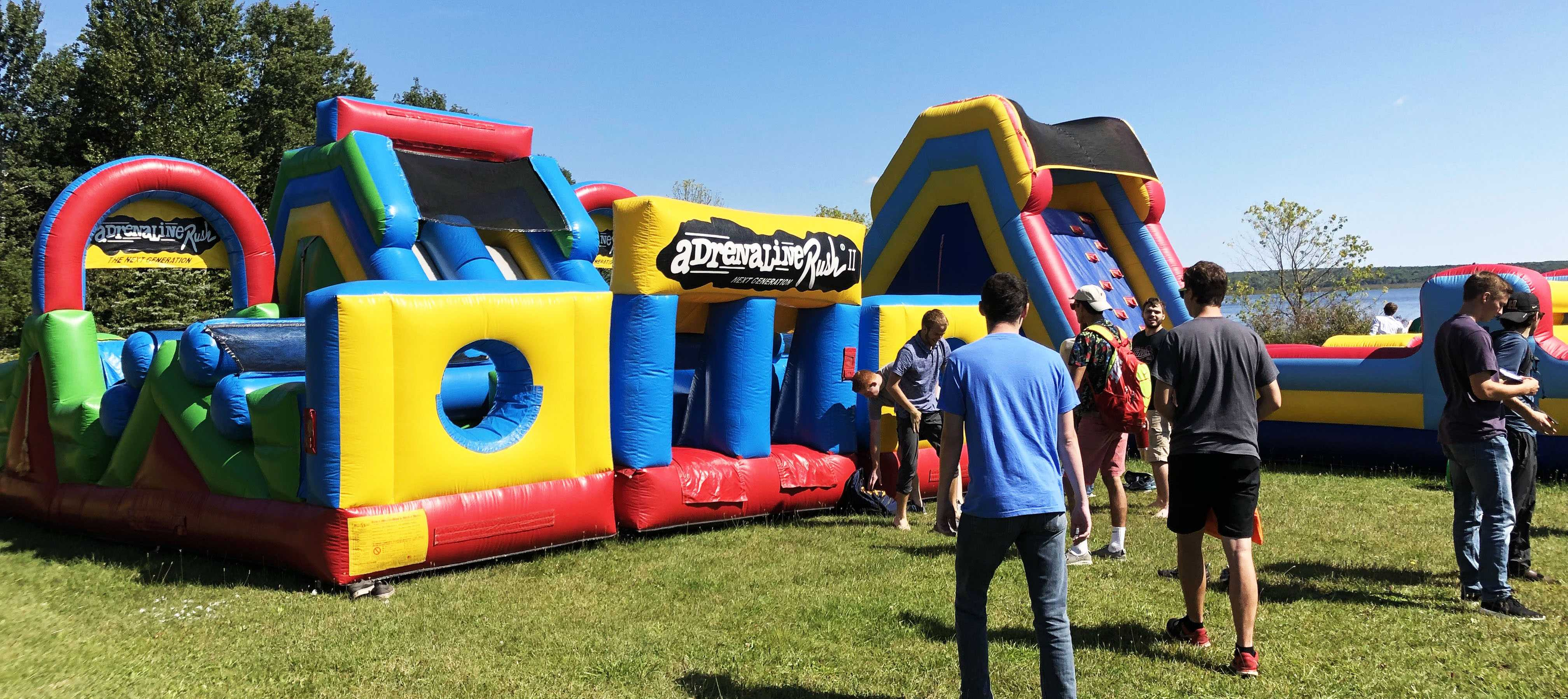 Participants at K-Day had the opportunity to tumble about in the inflatable obstacle course, attempting to beat each other to the finish.