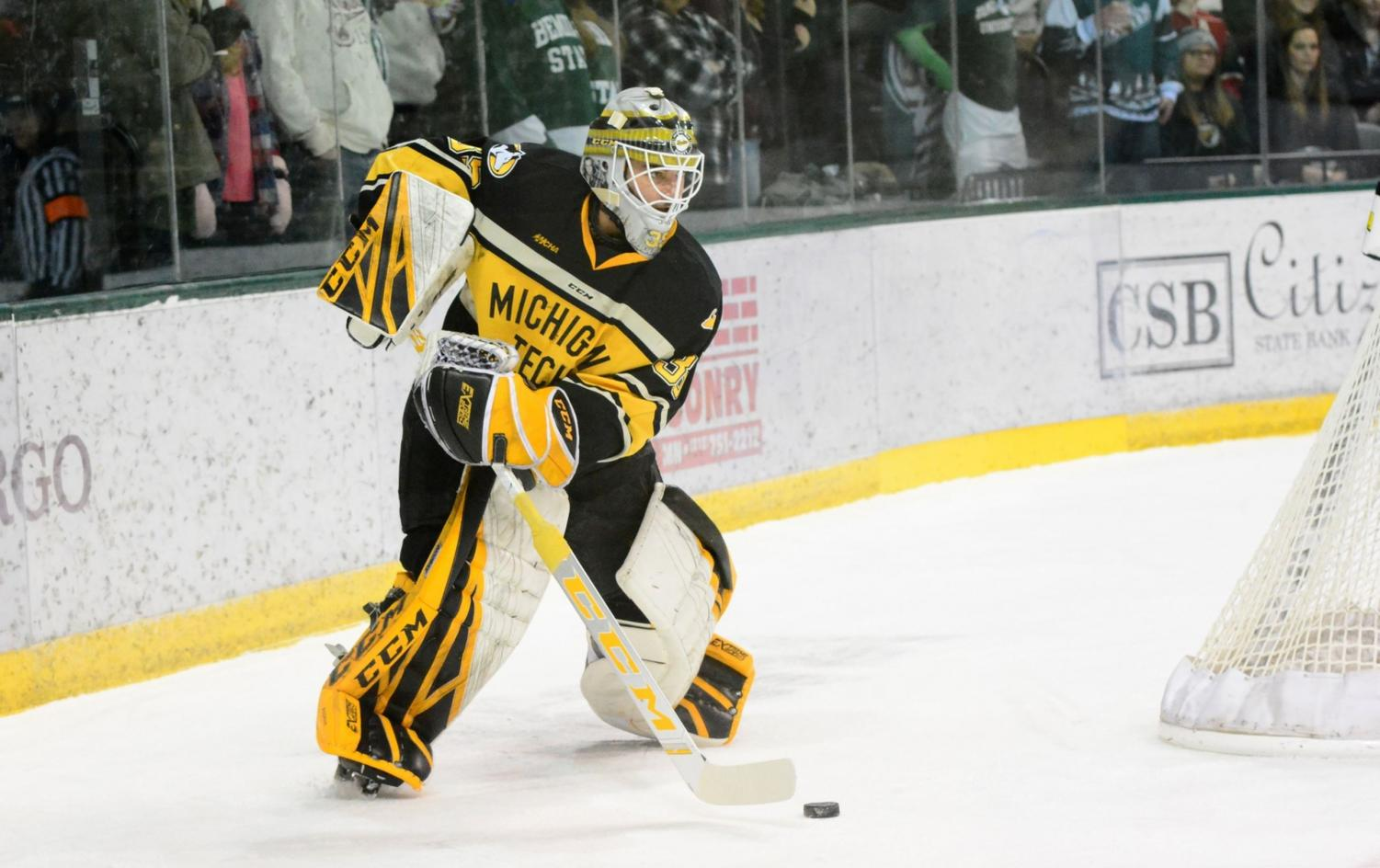 Robbie Beydoun played the goalie during the game against Bemidji State.