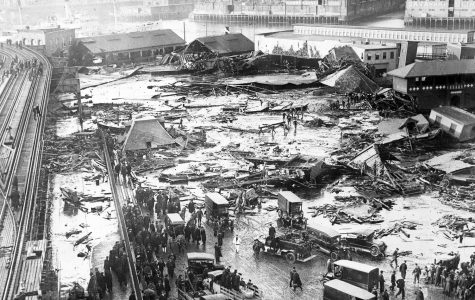 Damage to the North End of Boston after the wave of molasses had died down.