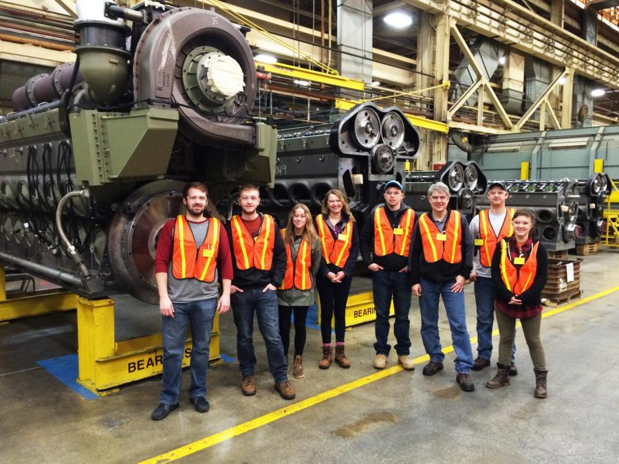 The Railroad Engineering and Activities Club pictured on one of their trips to a rail facility.