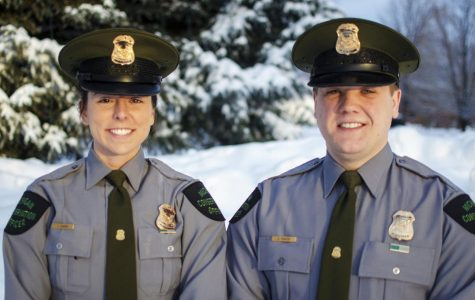 Michigan Department of Natural Resources Conservation Officers Jenni Hanson and Zach Painter patrol Gogebic County. They worked Saturday to rescue four stranded snowmobilers in Ontonagon County.