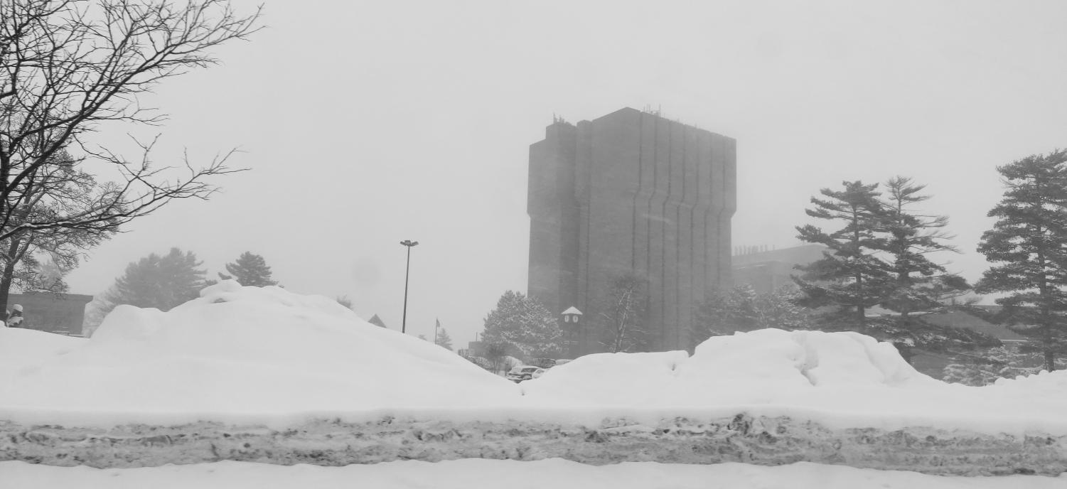 Snow blankets campus around the MEEM, lowering visibility.