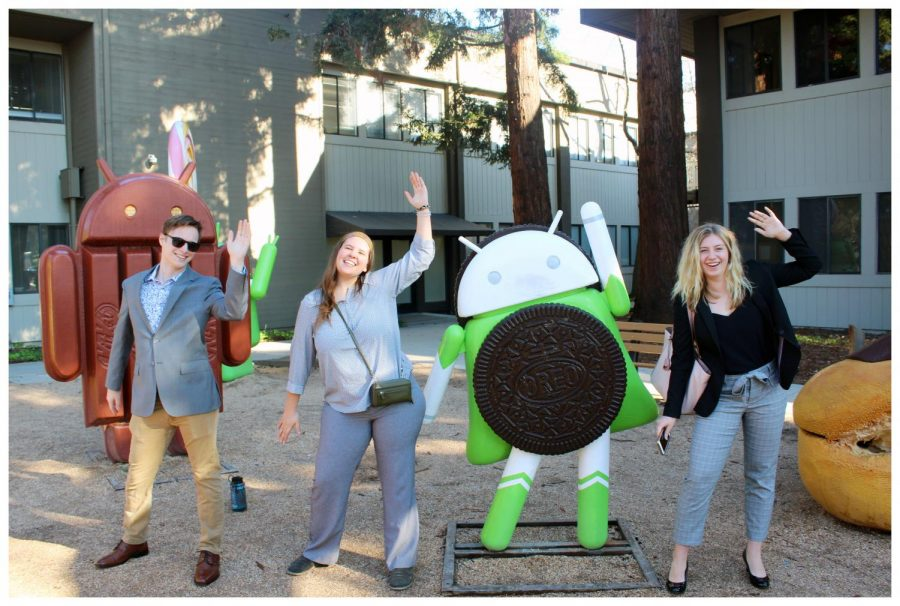 From left to right: Jacob Coulson, Lexi Steve, Android Oreo and Hannah Badger pose in front of  the Google Store.
