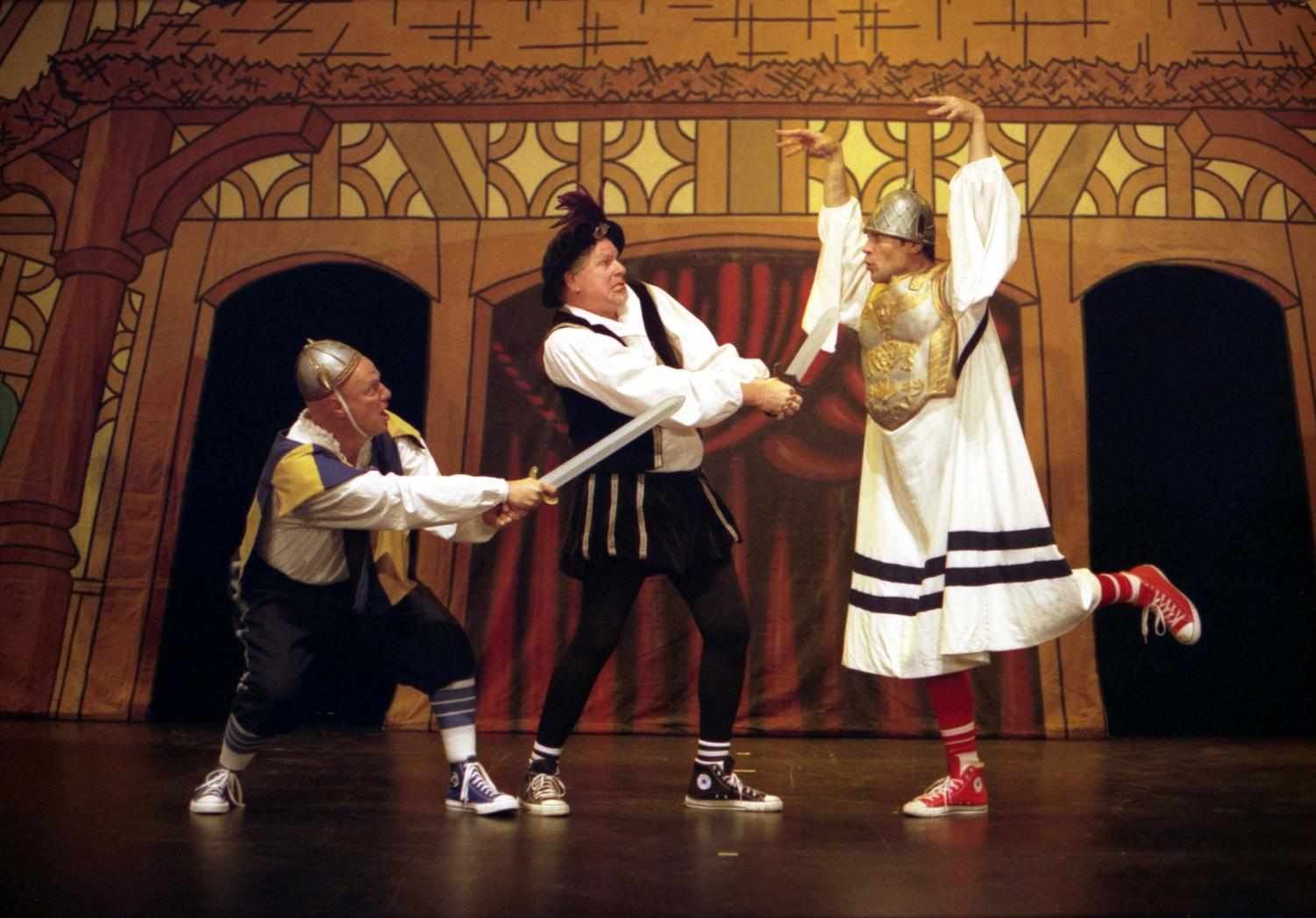 Actors from the Reduced Shakespeare Company, dressed in historically accurate Converse sneakers, perform The Complete Works of William Shakespeare (abridged)