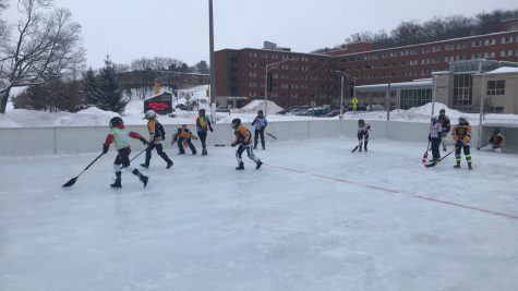 Broomball is deeply rooted in Michigan Tech's campus culture. This picture showcases a Women's League match from last season.