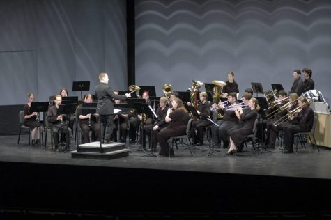 The Superior Wind Symphony, who will be performing a COVID-friendly concert this Saturday, is shown here performing in the Rozsa Center in a previous year.
