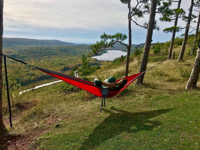Hammocking on-campus or off is a great way to enjoy the spring weather.
